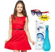 Preety Combo Offer Red Dress + Flat 50% Off + Free  Women's Perfume &