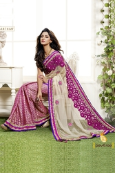 Pavitraa  Ethenic Fusion Cut Worked Saree made From Shimmer and Jecard
