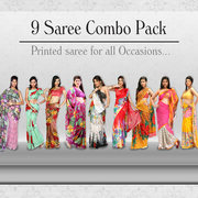 Queen saree Nine Stylish Designer Sarees Combo Collection