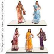Five Super Net With Lace Saree Combo Collection