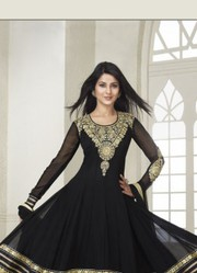 Semi Stitched Kumud Black Embroidered Anarkali Suit Very Low Price