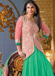 Jacket Style Lara Dutta In Light Anarkali Suit just only on Rs.1999/-
