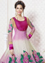 Pink And White Georgette Anarkali Suit In Esha Gupta only on Rs.1999/-