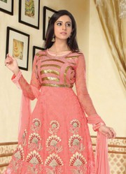 Dark Peach Colored Semi Stitched Long Anarkali Suits only on Rs.1999/-