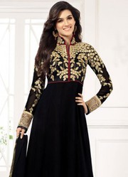 Black Semi Stitched Long Length Anarkali Suits just only on Rs.1499/-