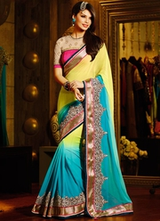 Multicolored Shaded Georgette Party Wear Saree
