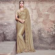 Smashy Beige Fancy Fabric Designer Saree