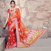 Thrilling Patch Border Work Red And Orange Banarasi Silk Designer Sare