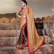 Ravishing Brown Embroidered Designer Saree