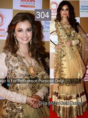 Indian Bollywood Diya Mirza Golden Heavy Semi-Stitched lehenga