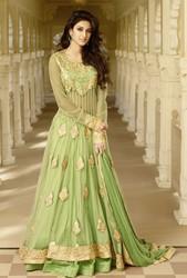Pastel Green Net and Art Silk Abaya Style Designer Anarkali Suit
