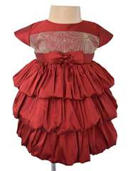 Maroon and Gold Tiered Dress