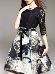 Black and White Lacy Printed Dress