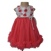 Coral Soutache Ruffled Dress For Your Little Angel