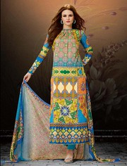 Buy Multicolor Cotton Satin Salwar Kameez