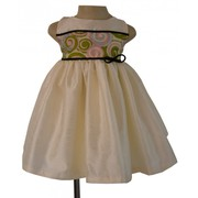 Bi-Material Cream Dress By Faye