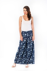 Trendy Floral Printed Blue Palazzo at 25%off