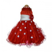 Simply Cute Floral Neck Band Sash Gown (Red)