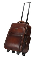 Lightweight Brune Trolley Bag - 100% Leather