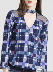 Texco Women Navy & Grey Summer cool V' neck Cuffed sleeve Checks Top