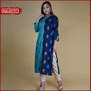Turquoise & Blue Straight Kurta with Gold Lace.
