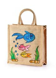 Jute hand painted bag Innovative look manufacturer,  exporter India