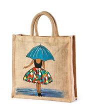 Jute hand painted bag lady with umbrella look manufacturer,  exporter