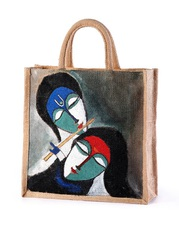 Lord Krishna Jute hand painted bags manufacturer,  exporter