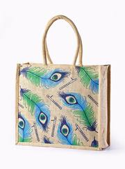 Hand Painted Jute Grocery both side print bags manufacturer,  exporter