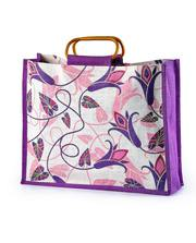 Jute Grocery bag with cane handle both side print manufacturer,  export