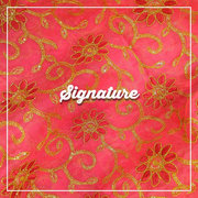 Buy Coral Pink Organza Fabric With Floral Thread and Golden Sequence