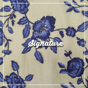 Buy Beige Net Fabric With Indigo Purple Floral Thread Work at MK